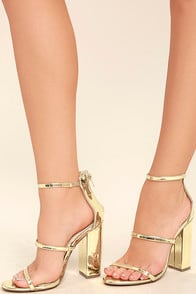 Fifi Mirror Gold Ankle Strap Heels at Lulus.com!