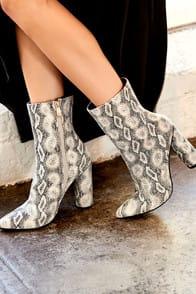 Mamba Grey Snake Print Mid-Calf Boots at Lulus.com!