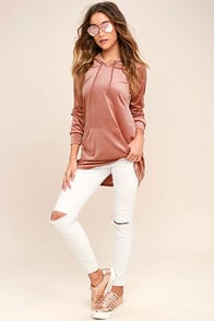 MELROSE BLUSH PINK VELOUR HOODIE at Lulus.com!