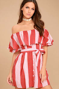 FAITHFULL THE BRAND AMALFI RUST RED STRIPED DRESS at Lulus.com!