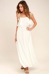 Moon River Now and Always Ivory Lace Maxi Dress at Lulus.com!