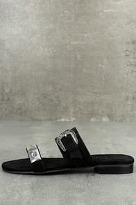 MATISSE BRANTLY BLACK SUEDE SLIDE SANDALS at Lulus.com!