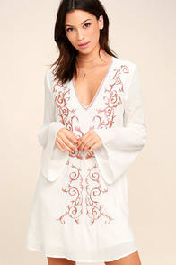 Beauty and the Beach Ivory Embroidered Long Sleeve Dress at Lulus.com!