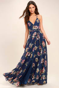 ALWAYS THERE FOR ME NAVY BLUE FLORAL PRINT WRAP MAXI DRESS at Lulus.com!
