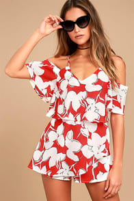 J.O.A. Akela Red Floral Print Off-the-Shoulder Skort Dress at Lulus.com!