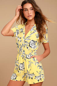 bb-dakota-morgana-yellow-floral-print-romper at Lulus.com!