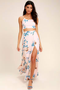 Barefoot at the Beach Light Peach Print Two-Piece Maxi Dress at Lulus.com!