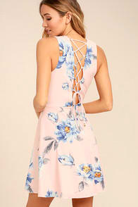 Garden Walk Blush Pink Floral Print Lace-Up Skater Dress at Lulus.com!