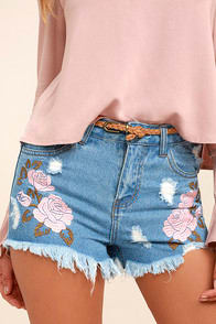 Posy Parade Light Wash Embroidered Distressed Denim Shorts at Lulus.com!