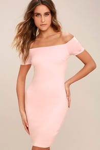 Me Oh My Blush Pink Off-the-Shoulder Bodycon Dress at Lulus.com!