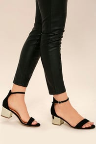 Reunion Black and Gold Ankle Strap Heels at Lulus.com!