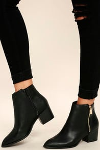 ILLUSION BLACK POINTED ANKLE BOOTIES at Lulus.com!