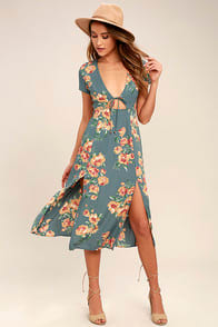 BEST DAY OF MY LIFE DUSTY SAGE FLORAL PRINT MIDI DRESS at Lulus.com!