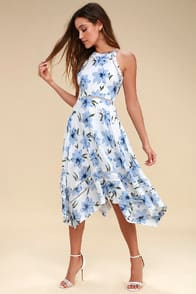 Zahara Blue and White Floral Print Midi Dress at Lulus.com!
