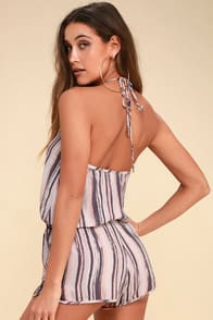 Beach Bound Blush Print Halter Romper at Lulus.com!