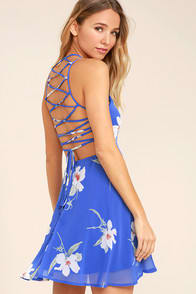 Happy Together Royal Blue Floral Print Lace-Up Dress at Lulus.com!