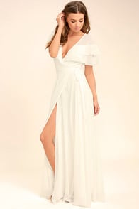 Wonderful Day White Wrap Maxi Dress at Lulus.com!