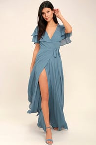 Wonderful Day Light Blue Wrap Maxi Dress at Lulus.com!