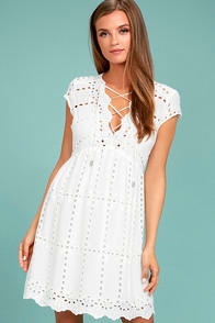 HERE TO STAY WHITE LACE DRESS at Lulus.com!