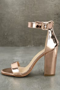 Emalia Rose Gold Patent Ankle Strap Heels at Lulus.com!