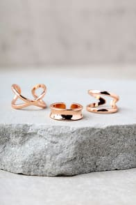 WINNING HEARTS ROSE GOLD RING SET at Lulus.com!