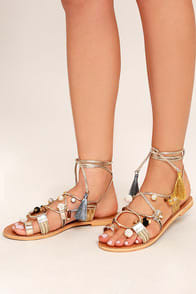 Steve Madden Rambel Metallic Multi Leather Lace-Up Sandals at Lulus.com!