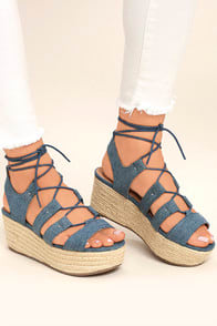 Steve Madden Brayla Denim Fabric Espadrille Wedges at Lulus.com!