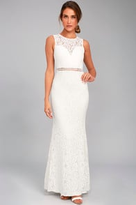 Music of the Heart White Lace Maxi Dress at Lulus.com!