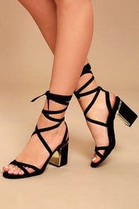 AILSA BLACK SUEDE LACE-UP HEELS at Lulus.com!