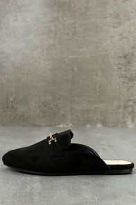 Nyssa Black Suede Loafer Slides at Lulus.com!