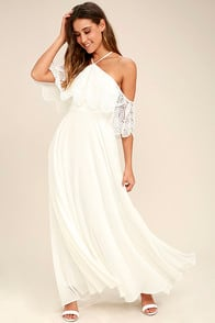 Unmatched Beauty White Lace Off-the-Shoulder Maxi Dress at Lulus.com!
