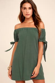 Al Fresco Evenings Olive Green Off-the-Shoulder Dress at Lulus.com!