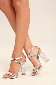 Tawney Silver Lucite Heels at Lulus.com!