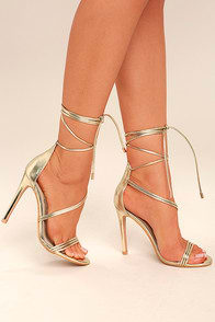 Ameerah Gold Lace-Up Heels at Lulus.com!