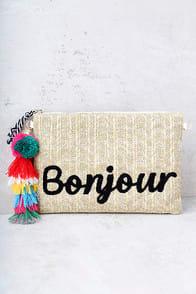 Melie Bianco St. Tropez Bonjour Beige Woven Clutch at Lulus.com!