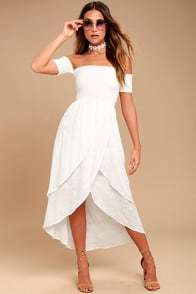 LUCY LOVE BAREFOOT BRIDE WHITE EMBROIDERED MIDI DRESS at Lulus.com!