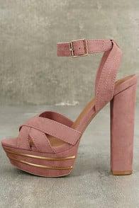 Brier Mauve Suede Platform Ankle Strap Heels at Lulus.com!
