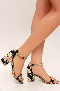 Ft. Lauderdale Black Multi Ankle Strap Heels at Lulus.com!