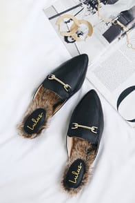 Antonia Black Faux Fur Loafer Slides at Lulus.com!