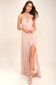 My Love Has Come Along Blush Pink Beaded Maxi Dress at Lulus.com!