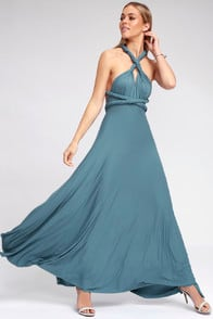 Tricks of the Trade Slate Blue Maxi Dress at Lulus.com!