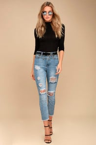 Works Light Wash High-Waisted Distressed Jeans at Lulus.com!