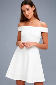 Season of Fun White Off-the-Shoulder Skater Dress at Lulus.com!