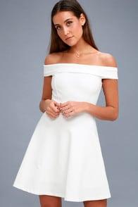 Season of Fun White Off-the-Shoulder Skater Dress at Lulus.com!