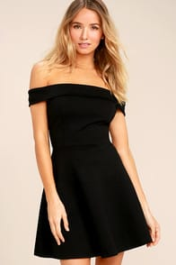 Season of Fun Black Off-the-Shoulder Skater Dress at Lulus.com!