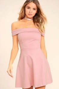 Season of Fun Blush Pink Off-the-Shoulder Skater Dress at Lulus.com!