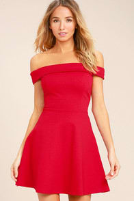 Season of Fun Red Off-the-Shoulder Skater Dress at Lulus.com!
