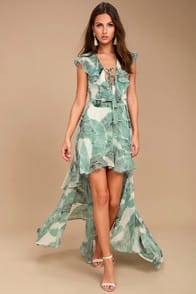 Meant to Be Sage Green Print High-Low Dress at Lulus.com!