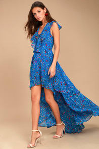 Always and Forever Blue Floral Print Lace-Up High-Low Dress at Lulus.com!