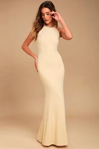 Girl in the Mirror Light Beige Beaded Maxi Dress at Lulus.com!